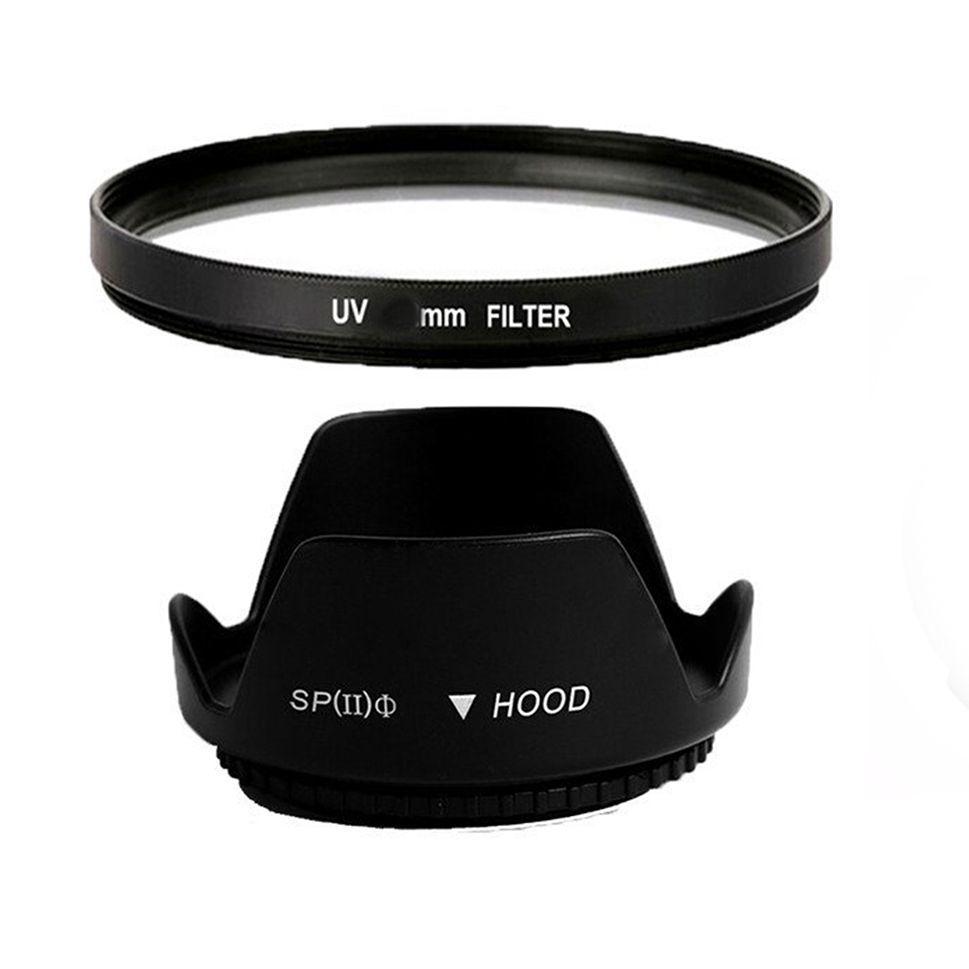 Kit Filtro Uv + Tulipa Parasol 49 mm Ø49 Nikon Canon Sigma