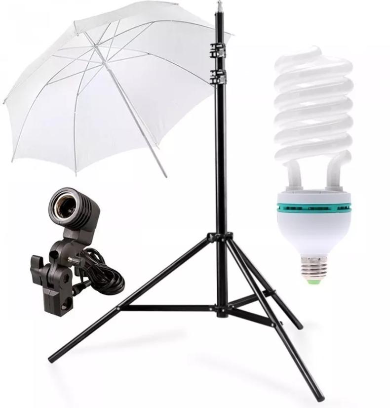 Kit Iluminação Estúdio Luz Continua Foto/vídeo com lampada 45W