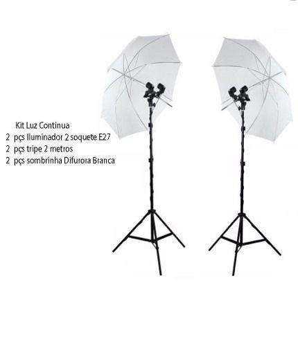 Kit Iluminação Estúdio P/newborn Luz Continua Duplo E27 Foto/vídeo