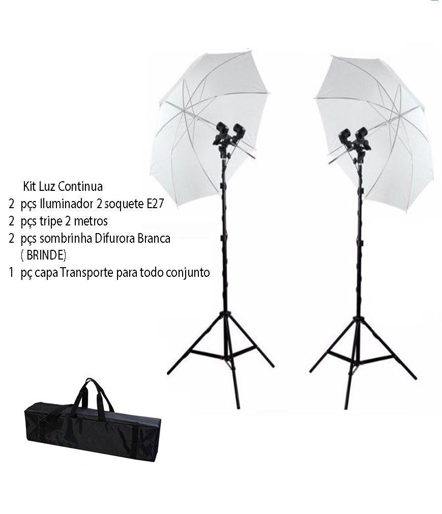 Kit Iluminação Estúdio P/newborn Luz Continua Duplo E27 Foto/vídeo com Bolsa