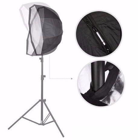 Kit Soft Octagonal 120cm + Tripé + Soquete Único C/ Lâmpada 135W