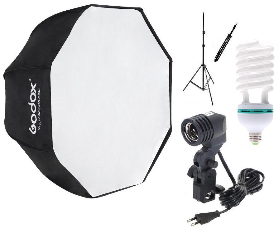 Kit Soft Octagonal 80cm + Tripé + Soquete Único C/ Lâmpada 135W