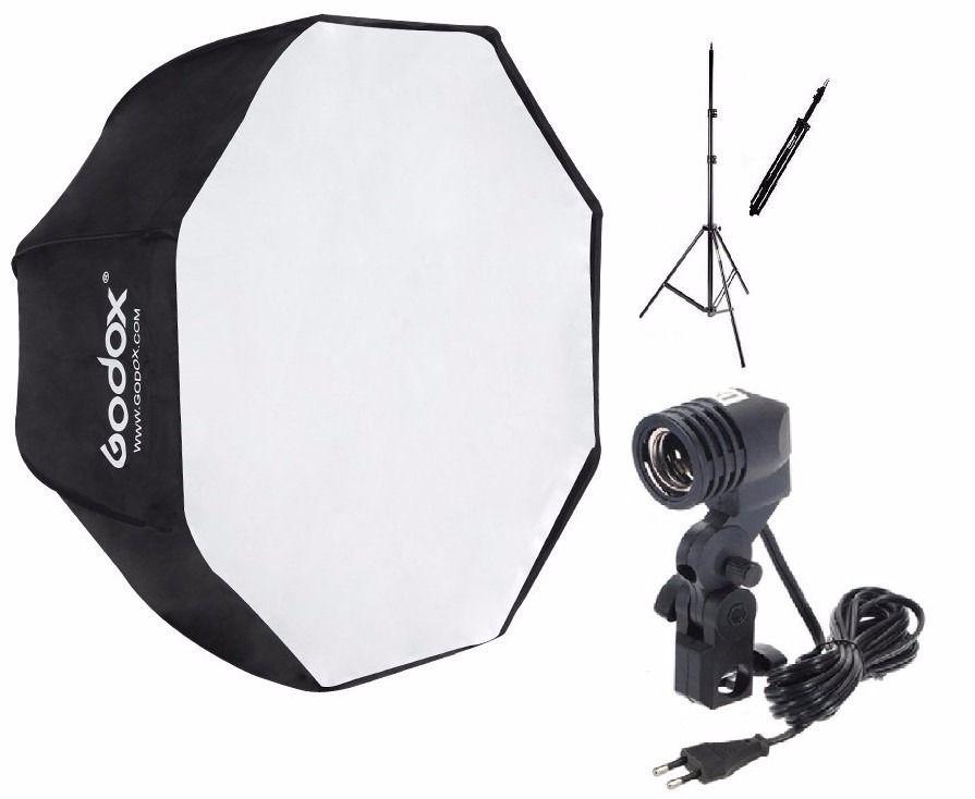 Kit Soft Octagonal 80cm + Tripé + Soquete Único P/ Lâmpada