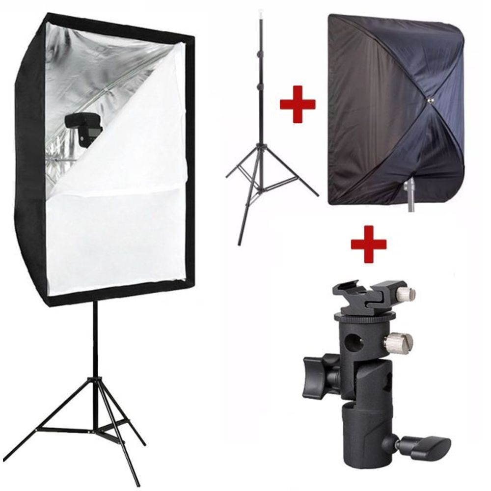 Kit Softbox Sombrinha 60x90 + Tripé + Suporte p/ Flash