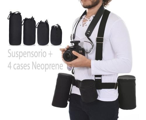 Kit Suspensorio e 4 Pçs Case Neoprene Luva Lente Canon Nikon