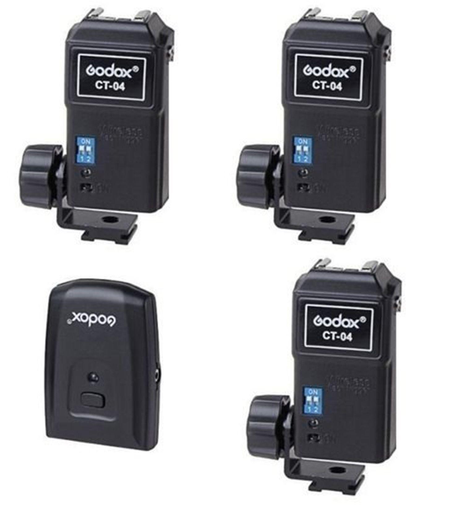 Rádio Flash Godox Ct-04 Canais Transmissor com 3 Receptor Estúdio