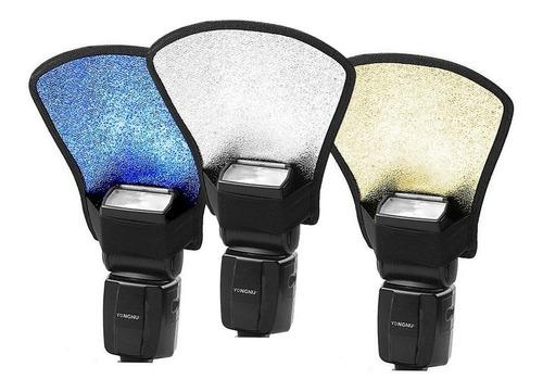 Tres Pcs Difusor Flash Leque Rebatedor Prata Dourado Azul