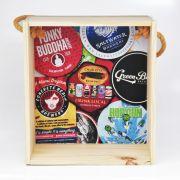 Quadro para coleção de bolachas de chopp com decoração temática: cervejarias norte-americanas