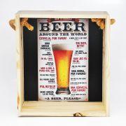 Quadro para coleção de bolachas de chopp com decoração temática: como pedir cerveja ao redor do mundo