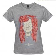 Camiseta baby look - Coleção Twenty Seven's - Janis Joplin - Cinza