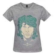 Camiseta baby look manga curta - Coleção Twenty Seven's - Jim Morrison - cor cinza