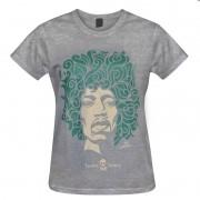 Camiseta baby look - Coleção Twenty Seven's - Jimi Hendrix - Cinza