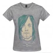 Camiseta baby look - Coleção Twenty Seven's - Kurt Cobain - Cinza