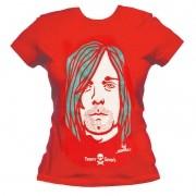 Camiseta baby look - Coleção Twenty Seven's - Kurt Cobain - Vermelha
