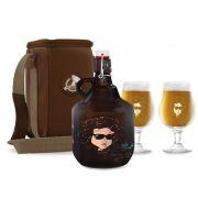 KIT TRAVEL #4: Grand Growler 2l Bob Dylan + 2 Taças Dublin Bob Dylan + Growler Bag Travel 1 growler Bege