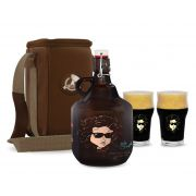 KIT TRAVEL #5: Grand Growler 2l Bob Dylan + 2 Copos Pint Bob Dylan + Growler Bag Travel 1 growler Bege