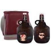 KIT TRAVEL #6: Grand Growler 2l Bob Dylan & David Bowie + Growler Bag Travel 2 growler Vermelho
