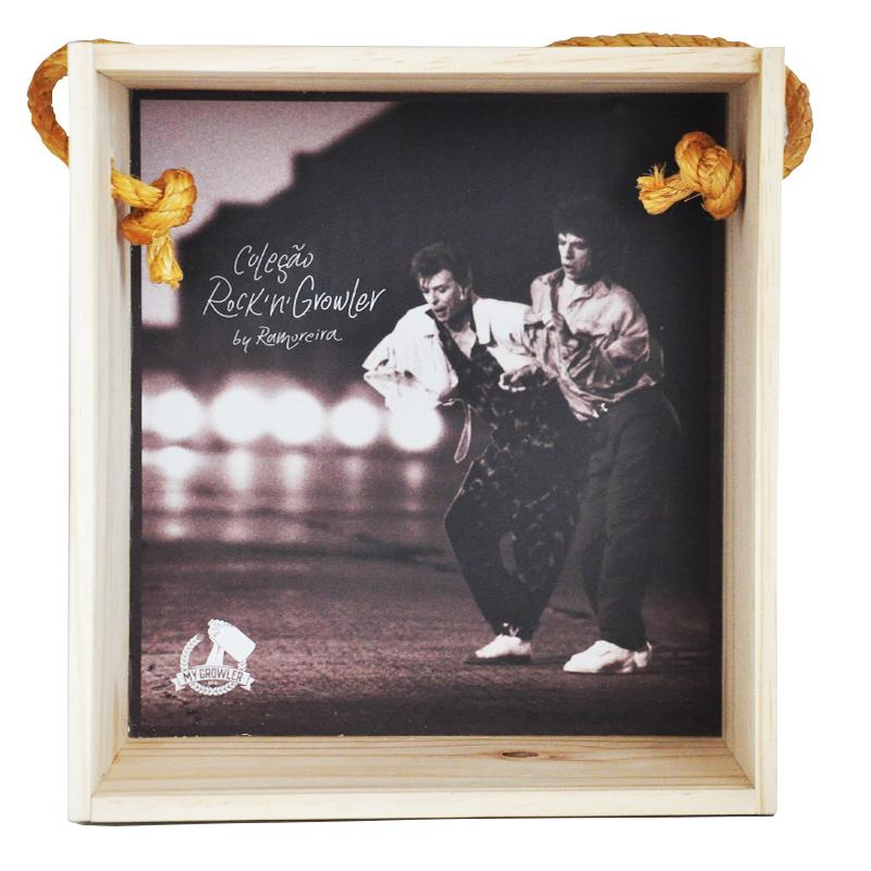 Quadro para coleção de bolachas de chopp - Coleção Rock'n'Growler - Mick Jagger e David Bowie