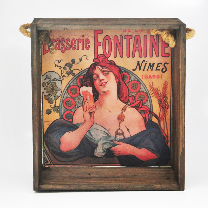Quadro para coleção de bolachas de chopp com decoração retrô cervejarias belgas - Brasserie Fontaine