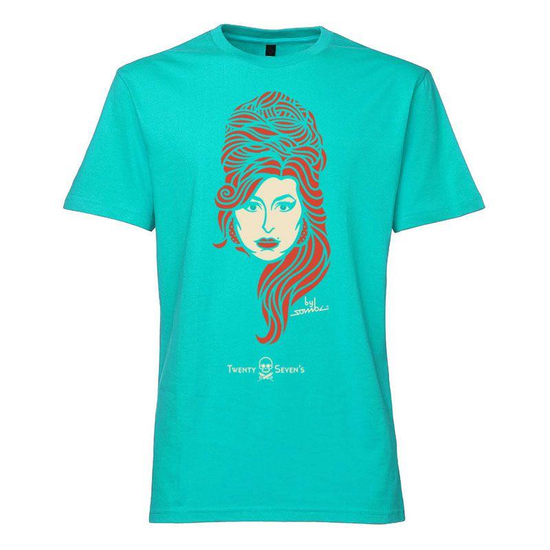 Camiseta - Coleção Twenty Seven's - Amy Winehouse - Azul