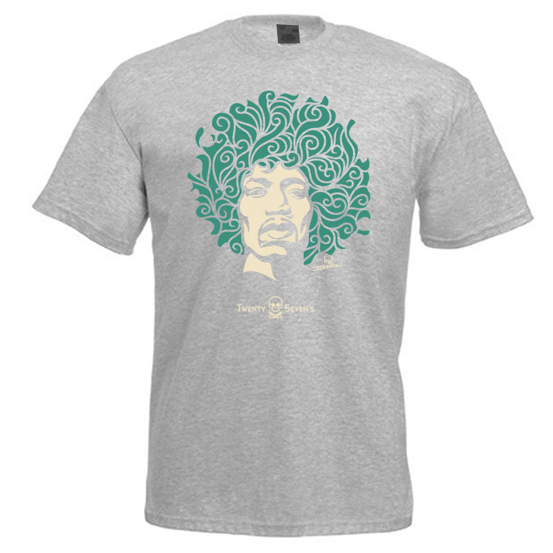 Camiseta manga curta com gola redonda - Coleção Twenty Seven's - Jimi Hendrix - cor cinza