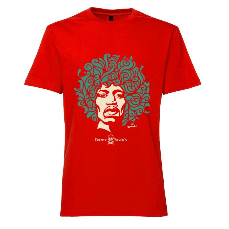 Camiseta - Coleção Twenty Seven's - Jimi Hendrix - Vermelha