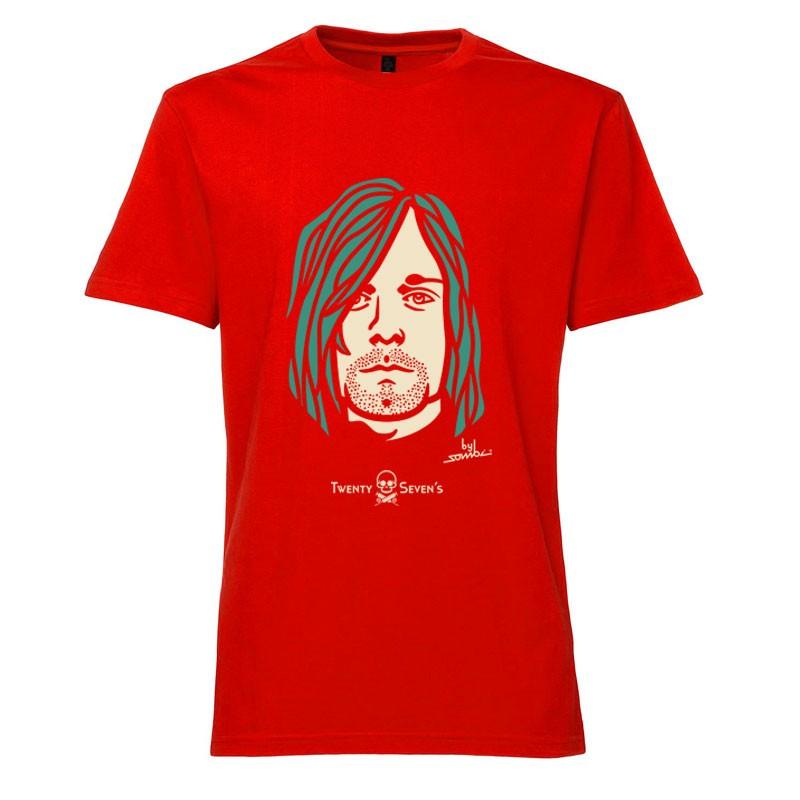 Camiseta manga curta com gola redonda - Coleção Twenty Seven's - Kurt Cobain - cor vermelha