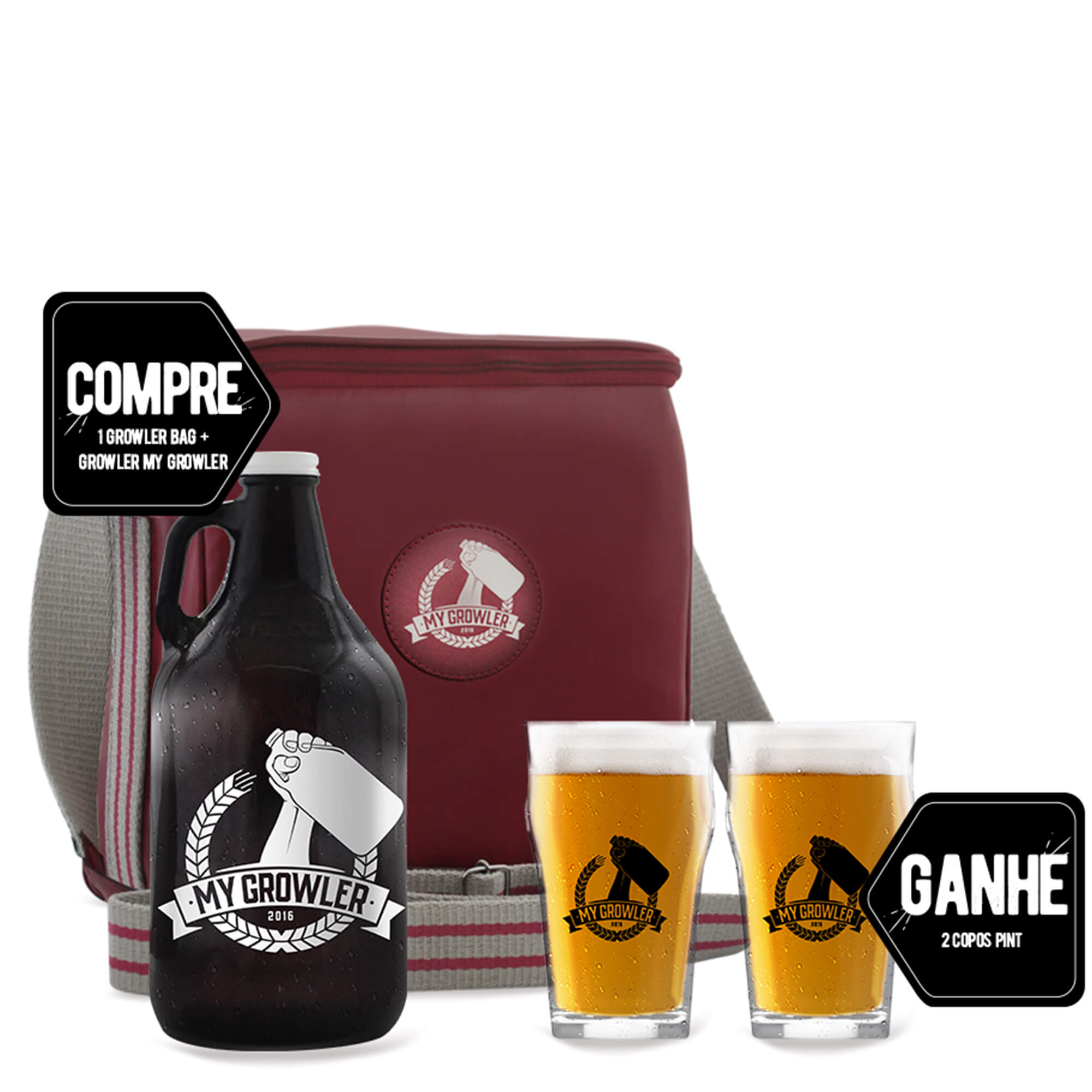 Compre Kit Growler Bag Travel Red Ale + 1 Growler Americano Ganhe 2 Copos Pint 300 ml