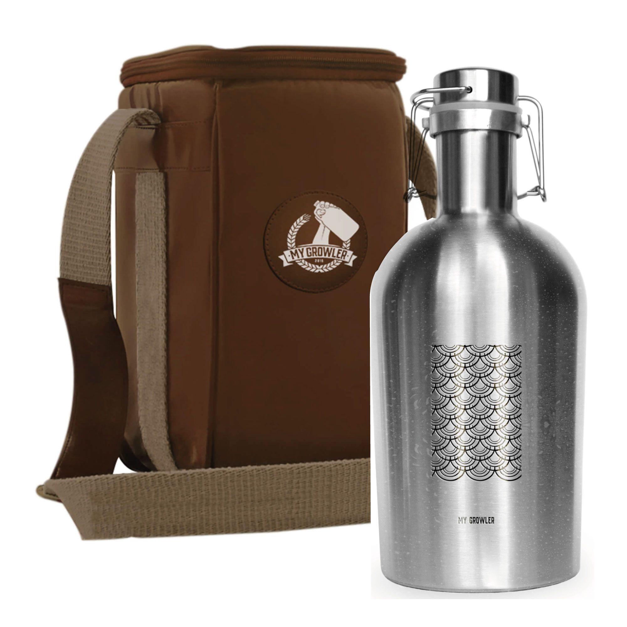 Kit Growler Inox 2 litros Tokyo + Growler Bag Travel Bege