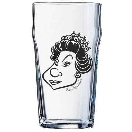 Copo Pint 473ml - Coleção Pensadores da Cerveja - Rainha Elizabeth I - Preto