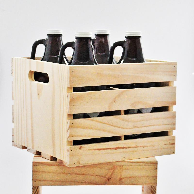 Engradado em madeira para 4 growlers padrão americano 1,89l