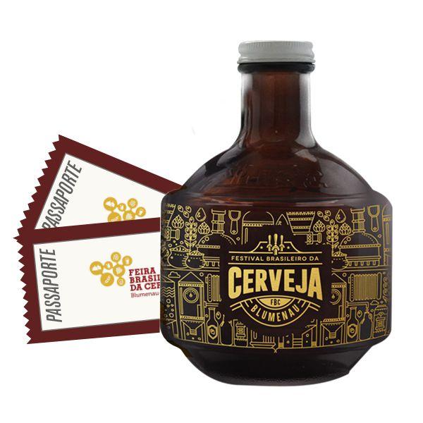 Golden Growler + 2 Passaportes Feira Brasileira da Cerveja de Blumenau/SC