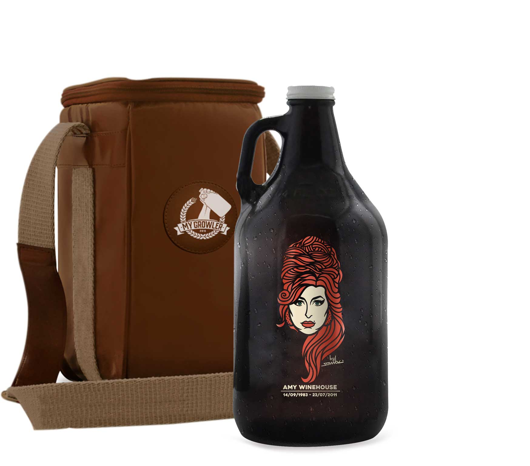 Growler Americano 1,89l - Amy Winehouse + Growler Bag Travel Bege