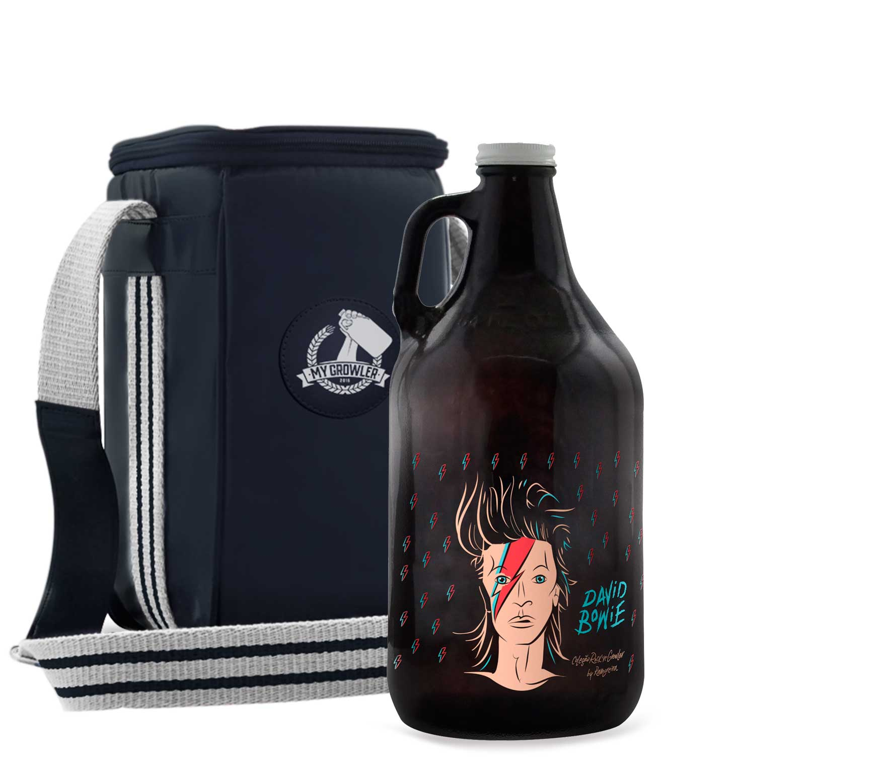 Growler Americano 1,89l - David Bowie + Growler Bag Travel Azul