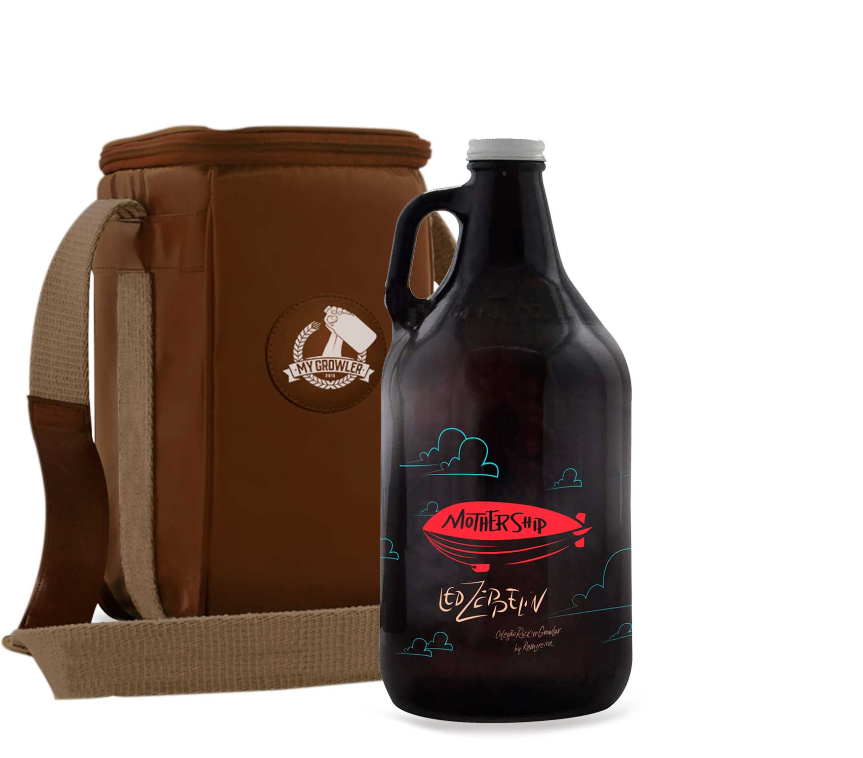 Growler Americano 1,89l - Led Zeppelin + Growler Bag Travel Bege