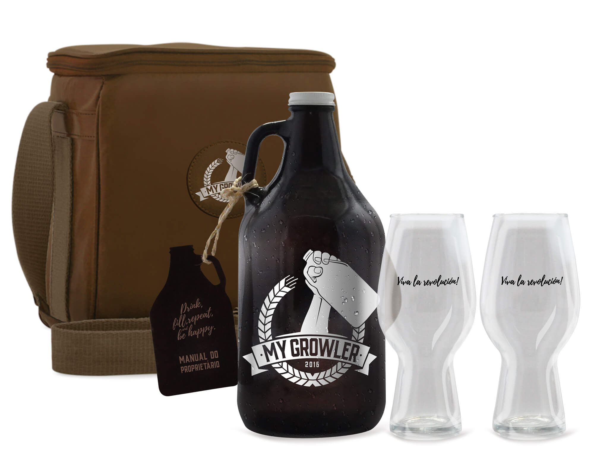 kit Growler Bag Travel Brow Ale + Growler Americano + 2 Copos London My Growler