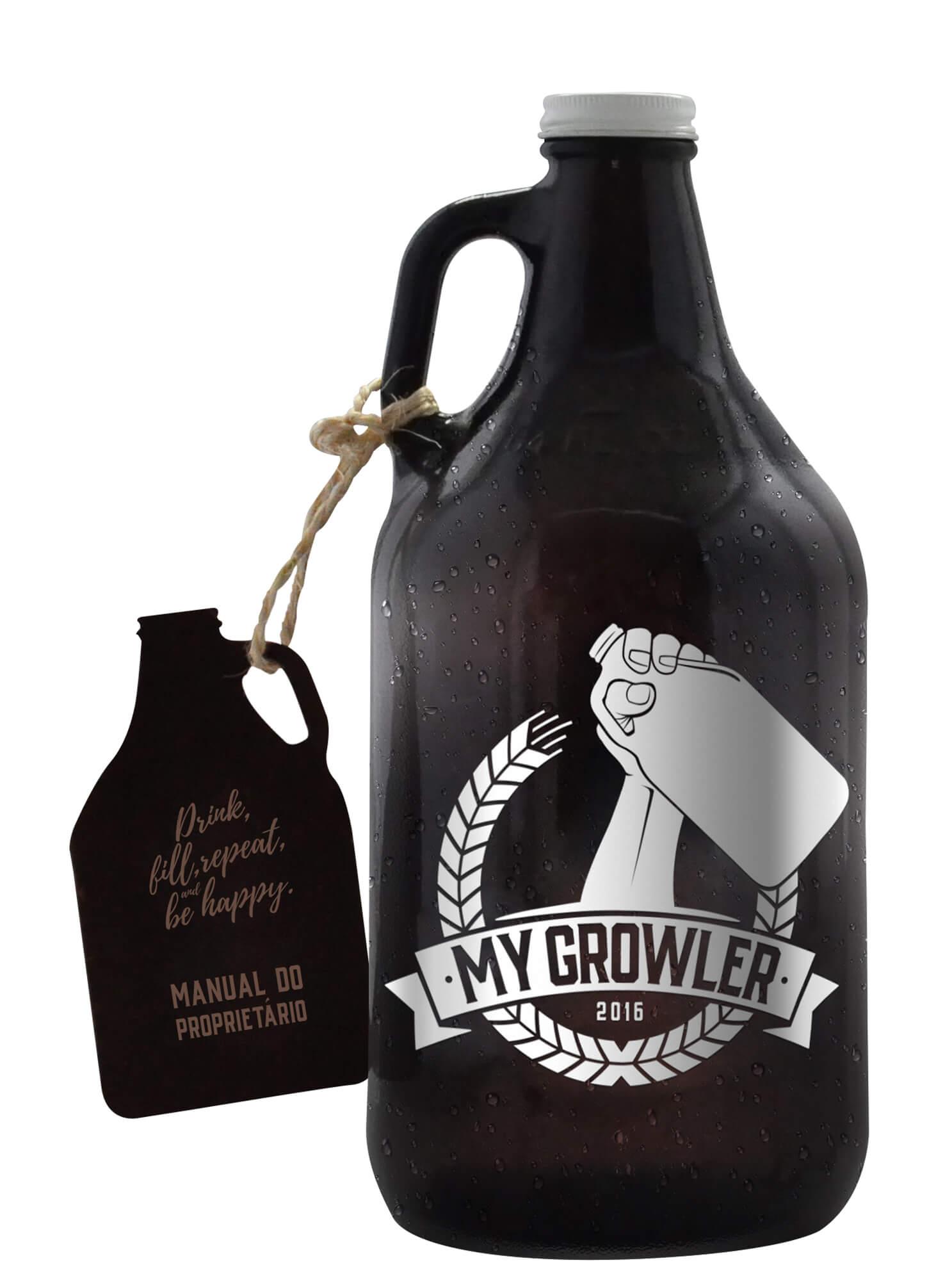 Kit Growler Bag Travel Brow Ale + Growler Americano + 2 Copos London My Growler