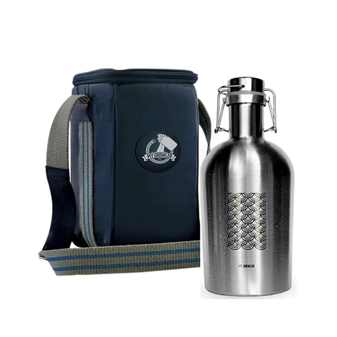 Kit Growler Inox 2 litros Tokyo + Growler Bag Travel Azul