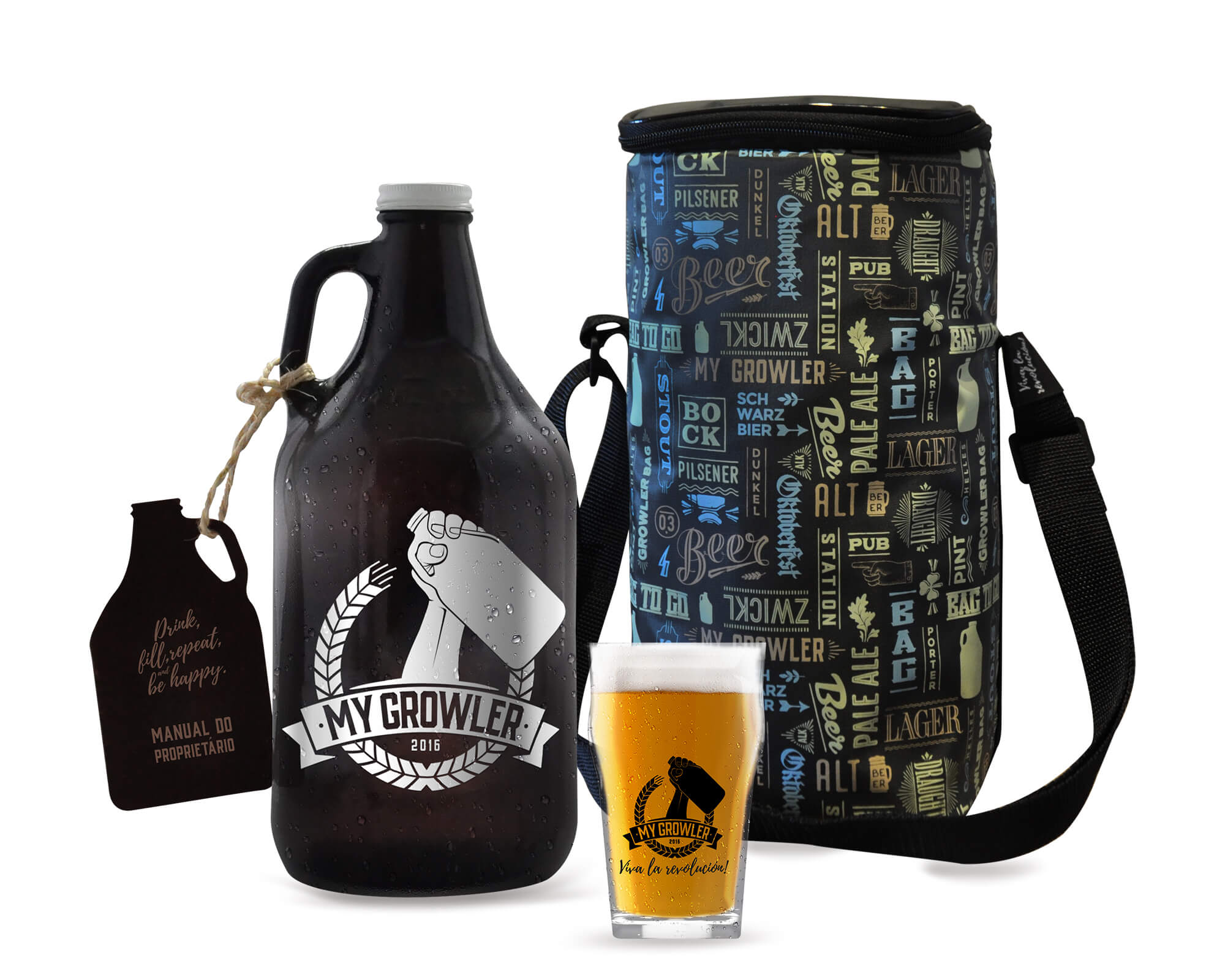 Kit My Growler #4 - Growler Americano + Growler Bag To Go para 1 growler + Copo Pint 300ml