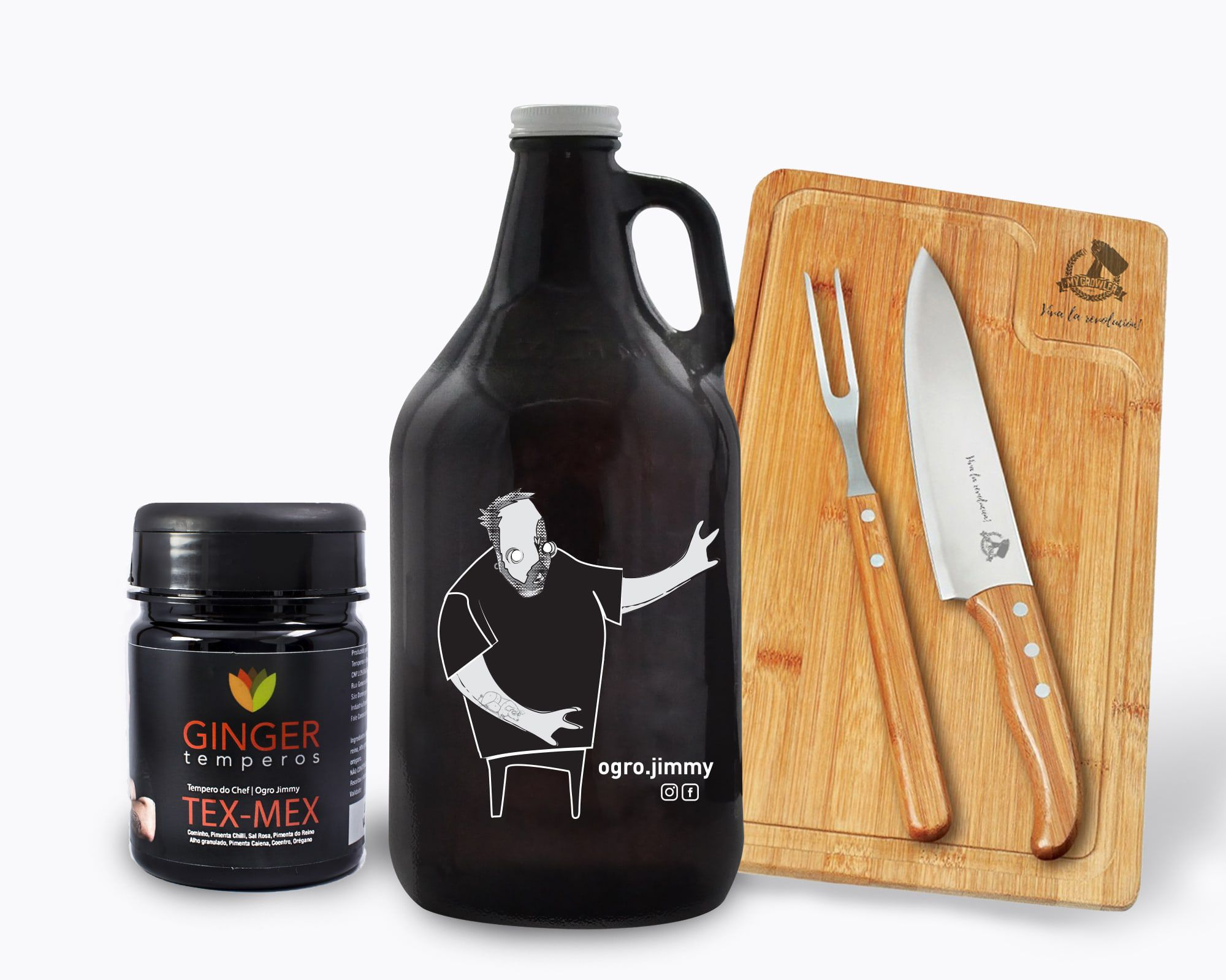 KIT OGRO #3: GROWLER AMERICANO JIMMY OGRO 1,89L + KIT CHURRASCO + TEMPERO