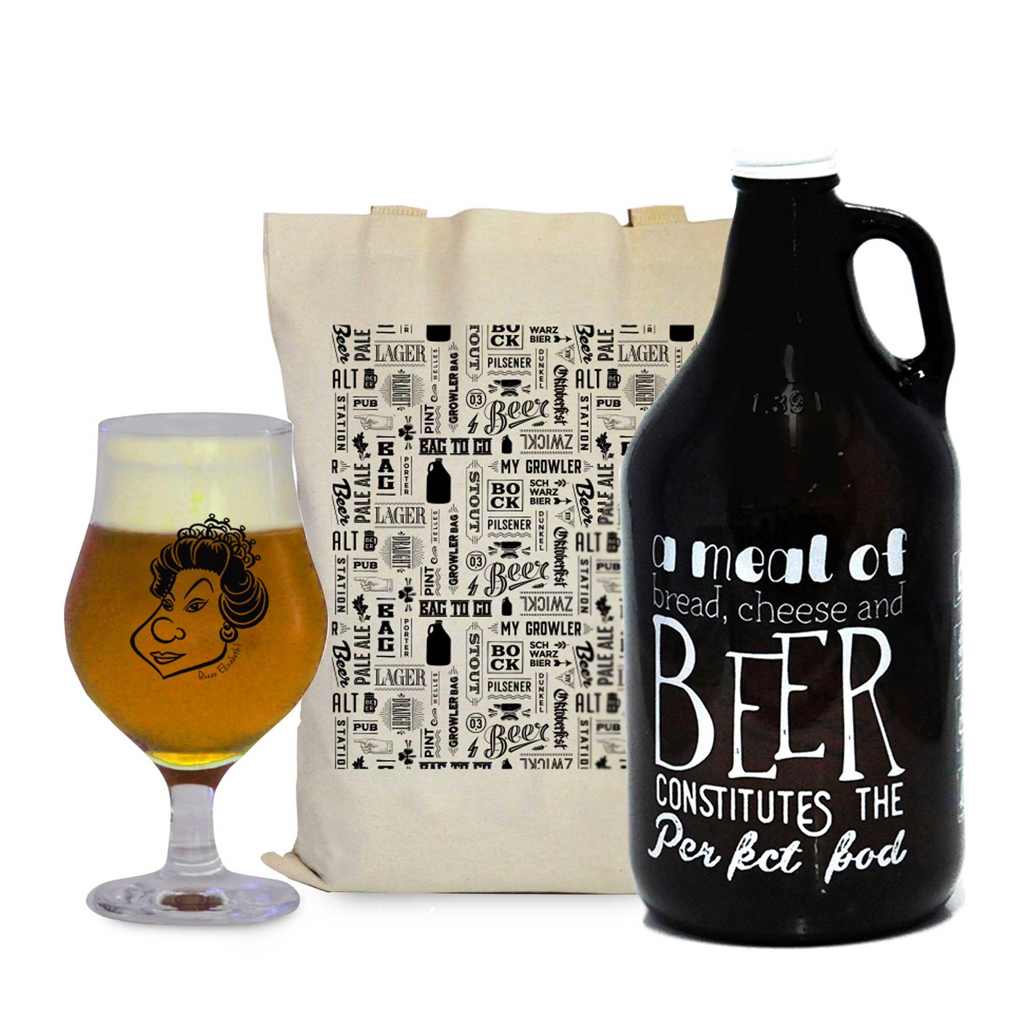 Kit Pensadores #2 - Growler Americano + Taça Dublin 400ml + Ecobag