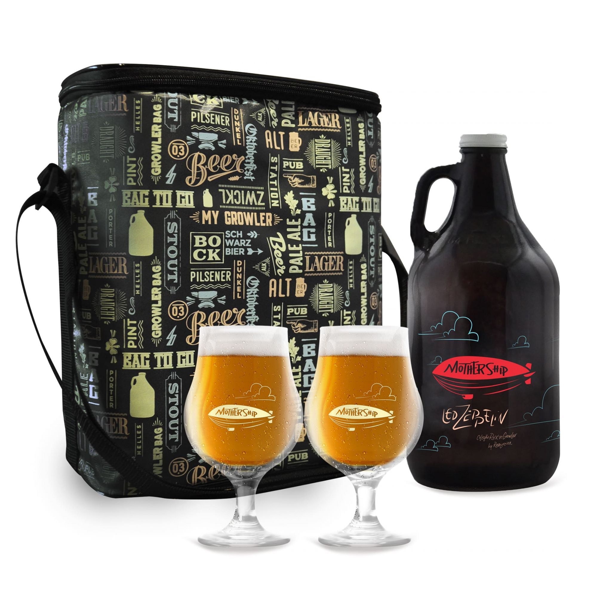 Kit Rock'n'Growler #10 - Growler Americano + Taças Dublin 400ml + Growler bag To Go