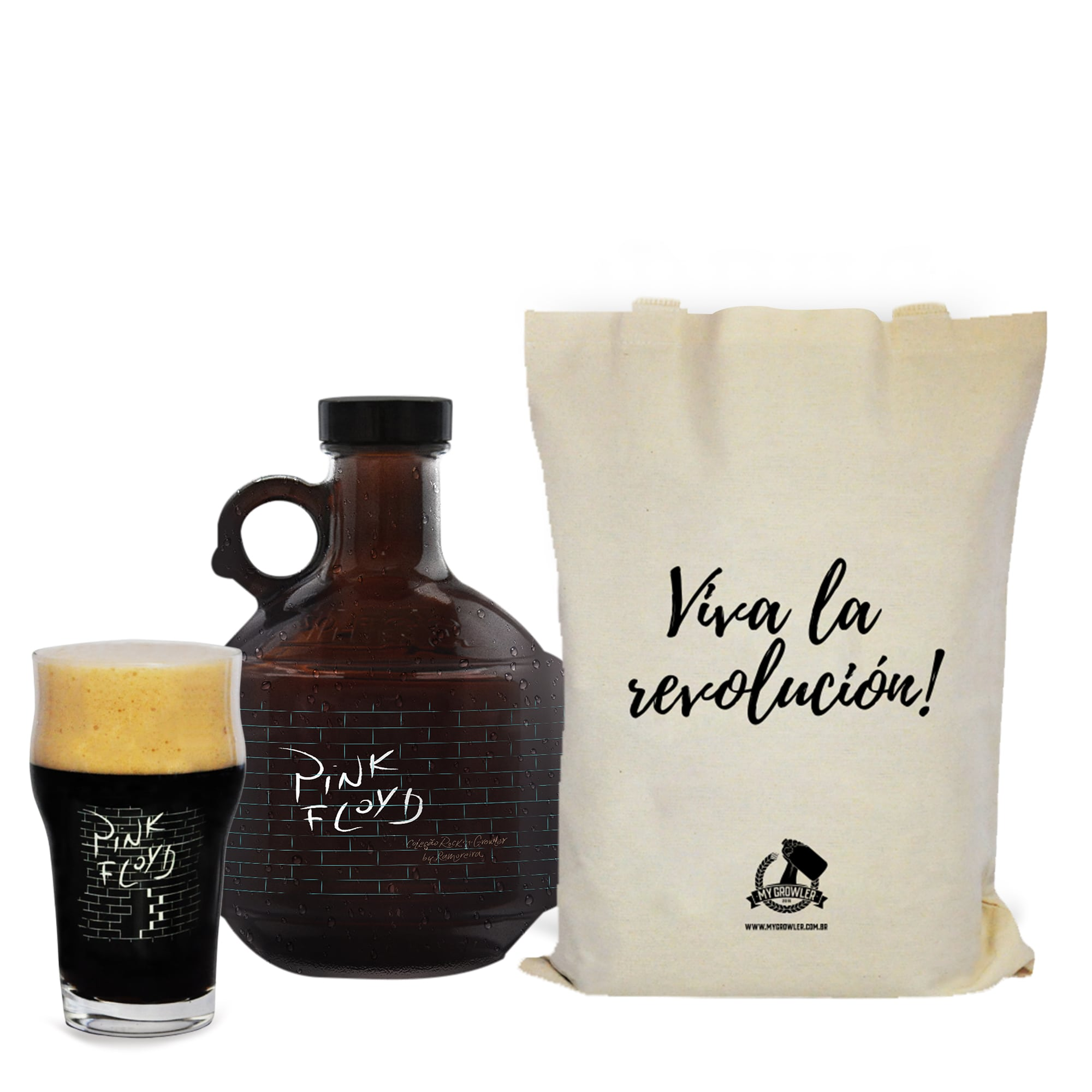 Kit Rock'n'Growler #11 - Growlucho 1l + Copo Pint 473ml + Ecobag