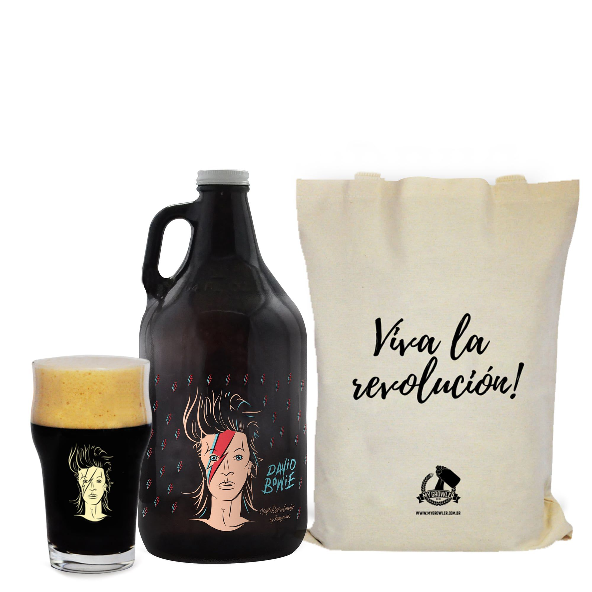 Kit Rock'n'Growler #7 - Growler Americano + Copo pint 473ml + Ecobag