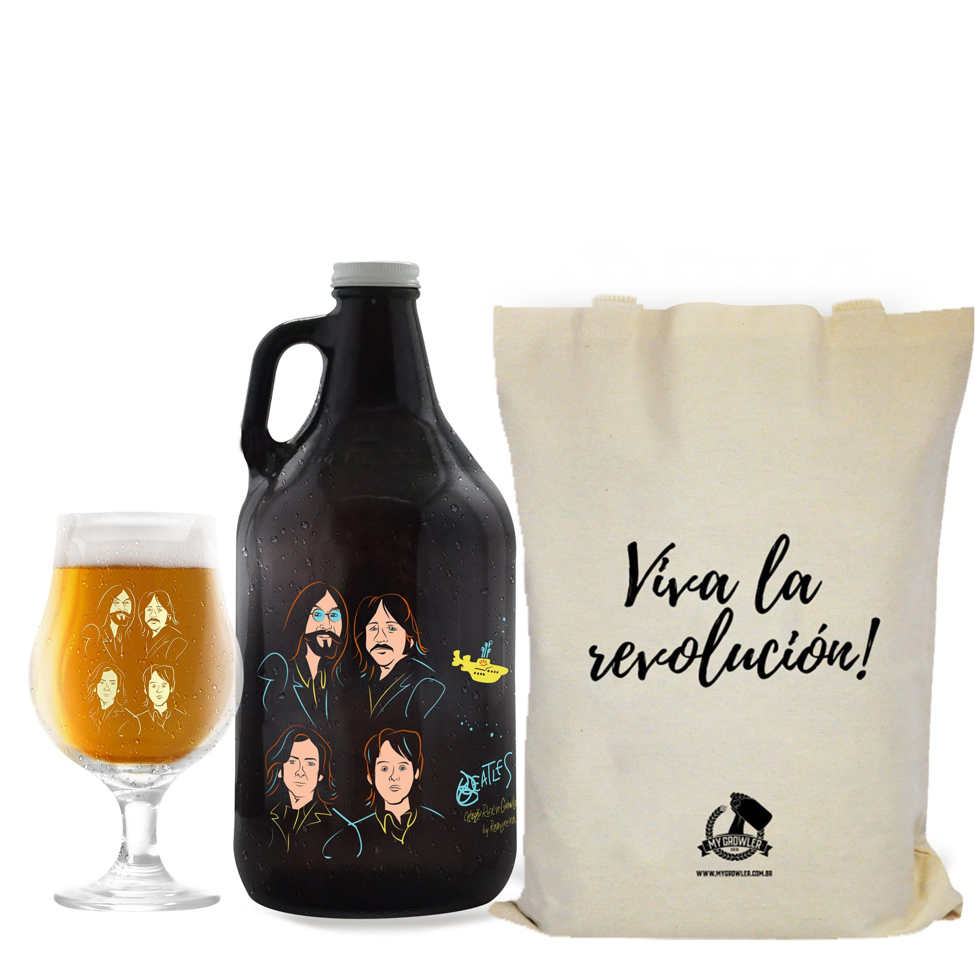 Kit Rock'n'Growler #8 - Growler Americano + Taça Dublin 400ml + Ecobag
