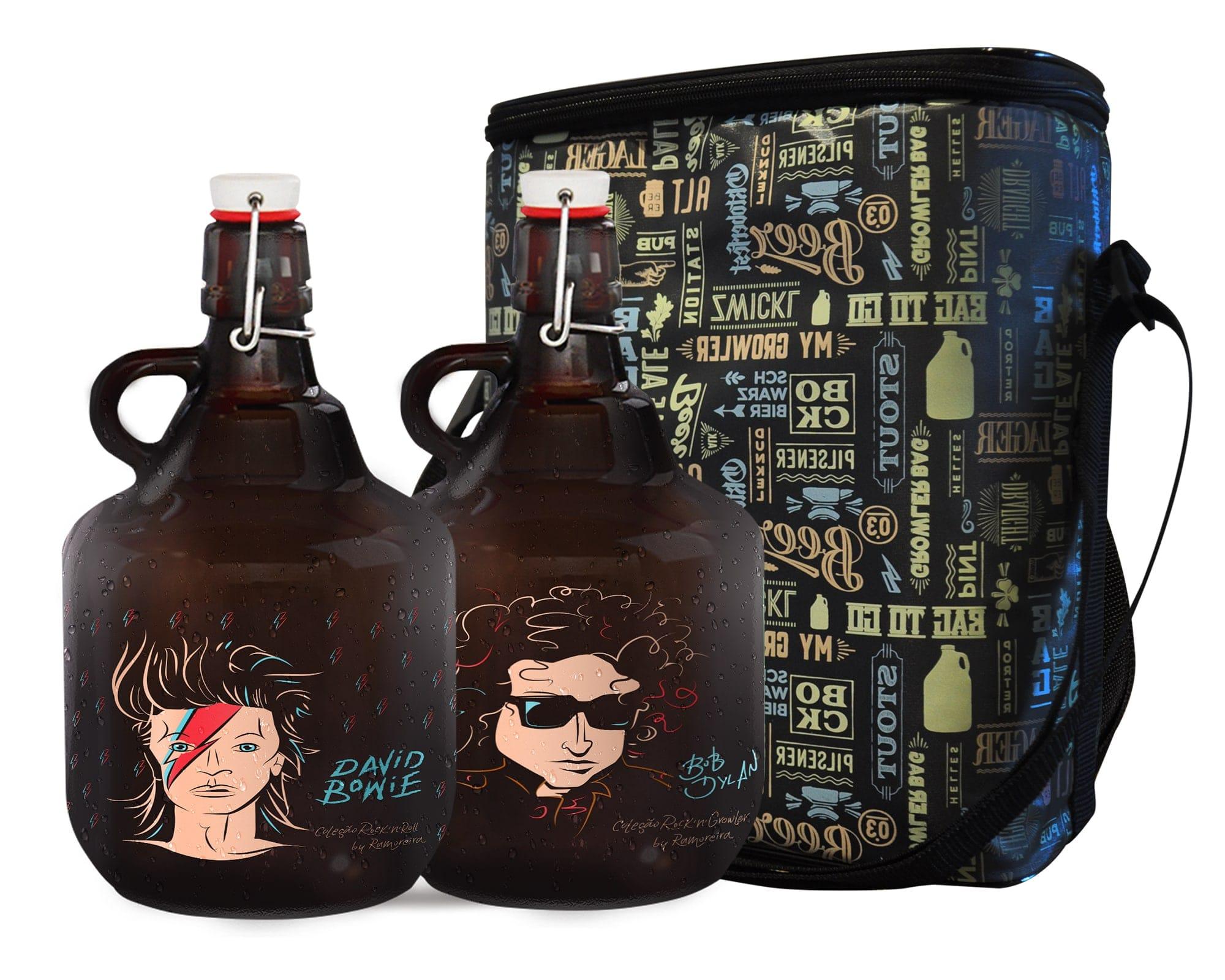KIT TO GO #3: Grand Growler 2l  Bob Dylan & David Bowie + Growler Bag To Go para 2 growlers