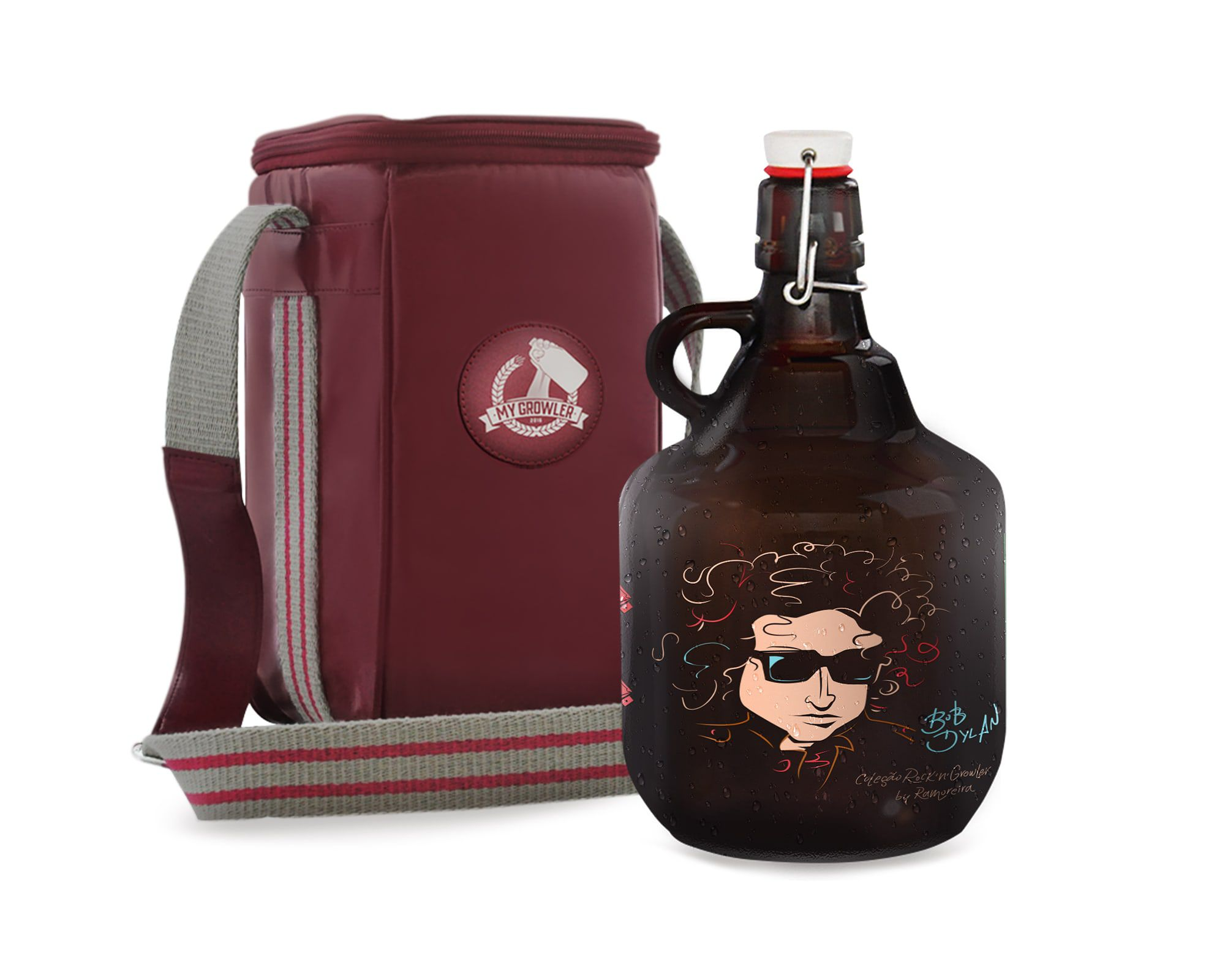 KIT TRAVEL #1: Grand Growler 2l Bob Dylan + Growler Bag Travel 1 growler Vermelho