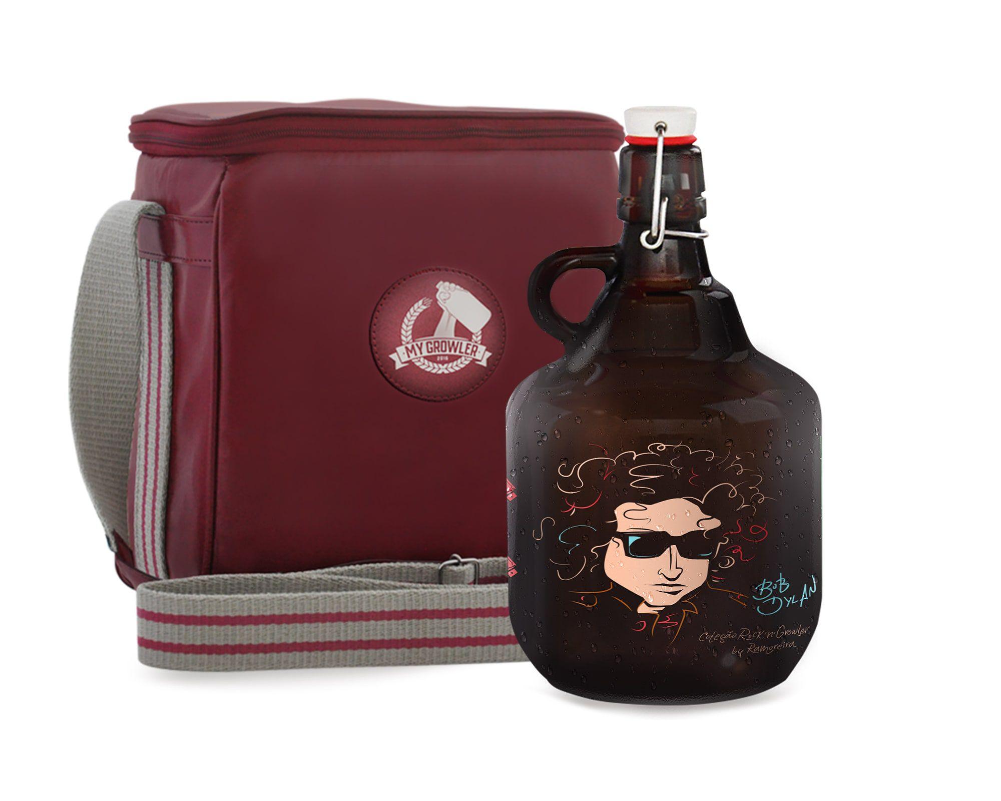 KIT TRAVEL #1: Grand Growler 2l Bob Dylan + Growler Bag Travel 2 growlers Vermelho