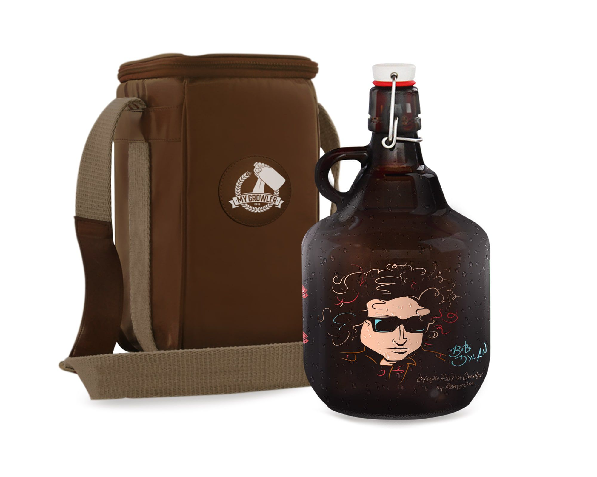 KIT TRAVEL #3: Grand Growler 2l  Bob Dylan + Growler Bag Travel 1 growler Bege