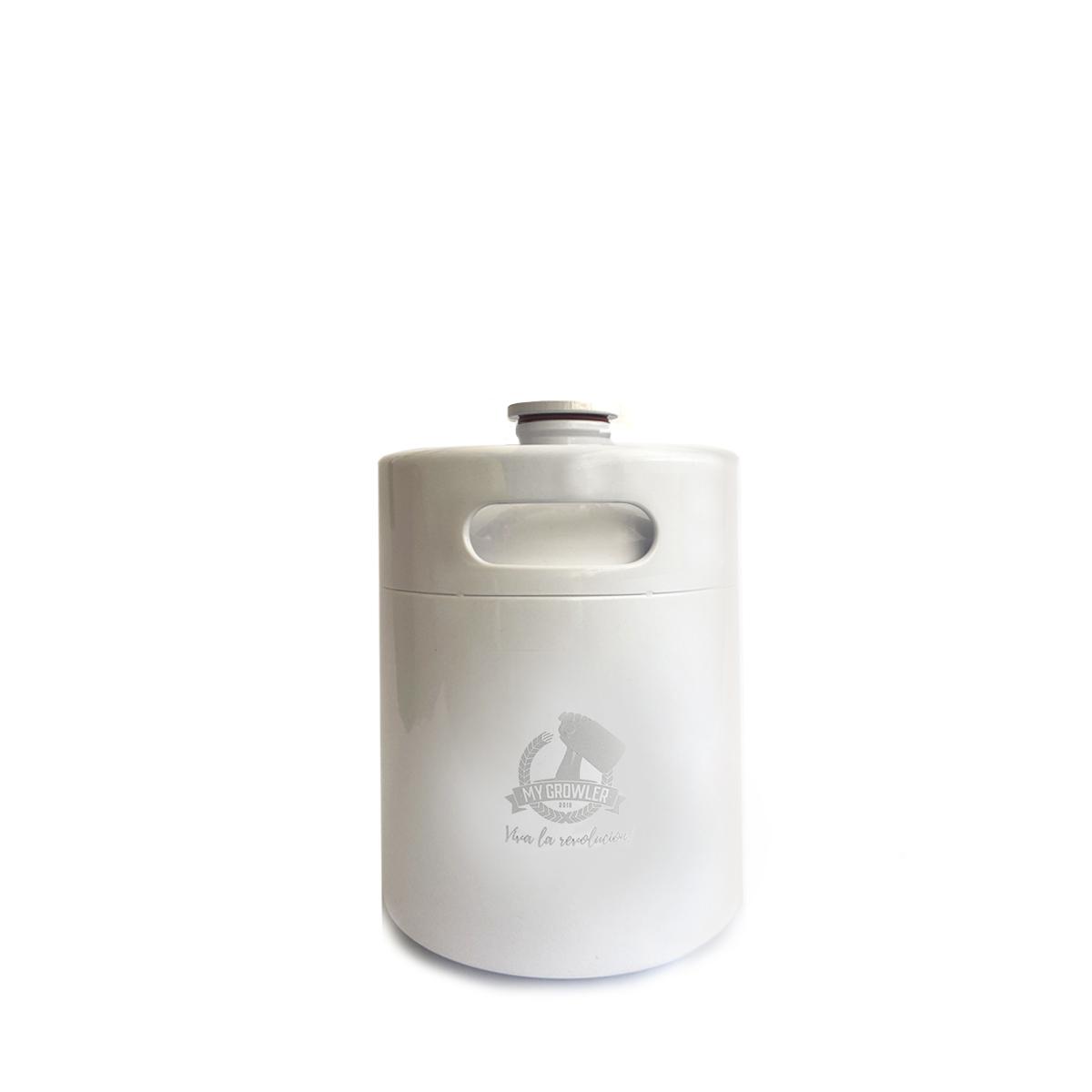 Mini Keg de aço inox 2L branco - My Growler